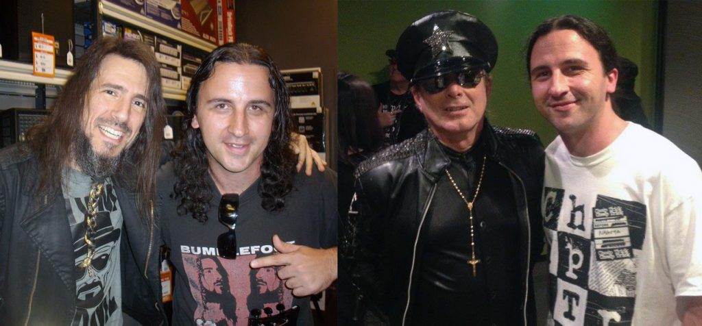 Left: with Ron 'Bumblefoot' Thal., Right with Robin Zander of Cheap Trick